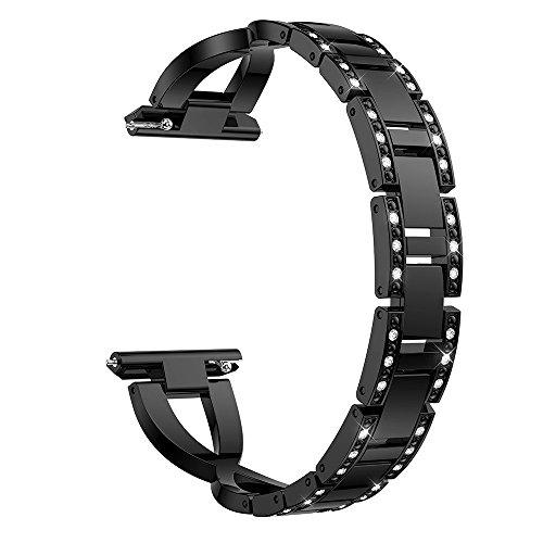 Für Fitbit Versa, Edelstahl Metall Kristall Uhrenarmband, Luxus Diamant Legierungs Bohrstahlband Handschlaufe Watch Band (Schwarz)