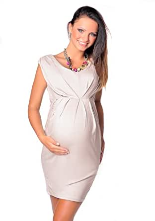 New Stunning Sleeveless V Neck Maternity Dress 8437 Variety of Colours (8, Beige)