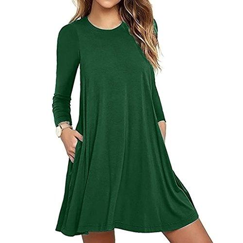 OverDose Mode Damen Langarm Tasche Casual locker T-Shirt Kleid Abend Party Kleid Blusenkleid O-Neck Basic Mini dress(A-Green ,EU-44/CN-2XL) (Cap Green Sleeve T-shirt Womens)