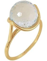 Superstar Bague Femme en Or 18 carats Blanc avec Topaze Bleu