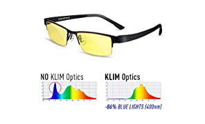 KLIM Glasses with Blue Light Filter Anti-Fatigue Anti Blue Light UV Protection Black