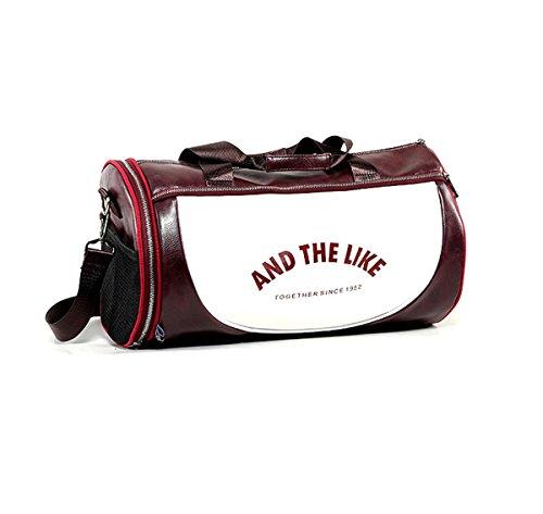Quanjie Borsa da Palestra Impermeabile Borsone Viaggio PU Pelle Borsoni Sportivo con Vano Scarpe Separato di Travel Duffel Weekend Bag per Donne e Uomini (rosso-1)