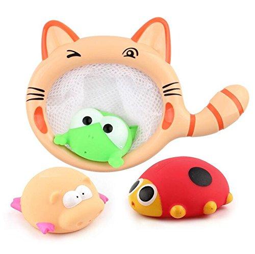 YOIL Set von 3 Pcs Kinder Cartoon Niedlichen Tier Badewanne Bad Bad Squirt Spielzeug Wasser Spiel Spielzeug mit Einem Net Angeln