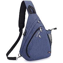 SINOKAL Pecho Mochila Bolso Pecho Casual Bandolera Hombro triángulo Paquetes Daypacks para Hombres Mujeres (Azul