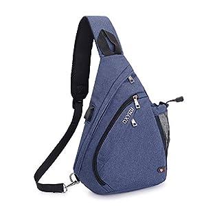 SINOKAL Pecho Mochila Bolso Pecho Casual Bandolera Hombro triángulo Paquetes Daypacks para Hombres Mujeres Sling Bolsa con Puerto de Carga para el Deporte al Aire Libre Gimnasio Viajes Senderismo