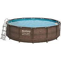 Bestway Power Steel DELUXE SERIES Frame Pool Set, rund 427x107 cm Stahlrahmenpool-Set mit Skimatic Filterpumpe + Zubehör, Rattanoptik