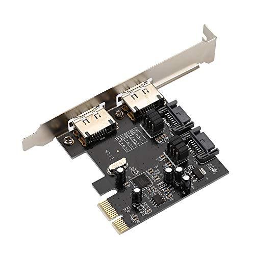 Tonysa PCI-E auf SATA3.0-Erweiterungskarte 6,0 Gbit/s Hochgeschwindigkeits-Desktop-Computer PCI auf USB-Erweiterungskarte Adapter 2 * SATAIII + 2 * ESATA für Festplatten - Esata Erweiterungskarte