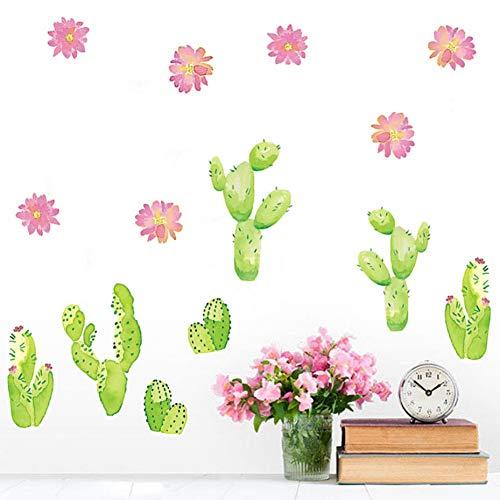 SXRAI Wandaufkleber Kaktus Blume Wandmalereien Decor DIY Decals Poster Abnehmbare Aufkleber Vinyl Wohnzimmer Garten Tapete Selbstklebende Hintergrund,C1,20 cm x 40 cm