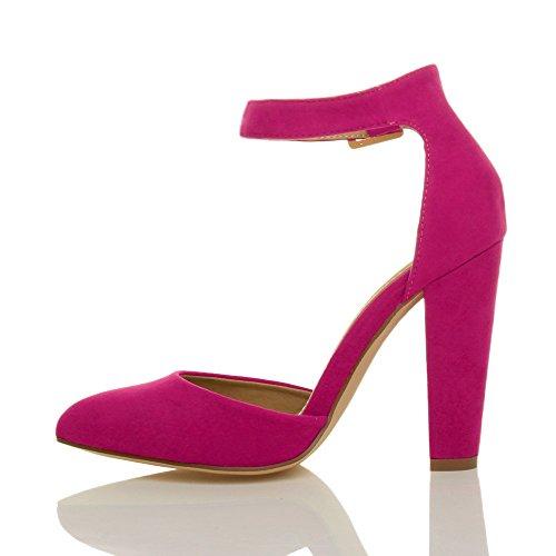 Damen Hochblockabsatz Mode Schnalle Spitz Pumps Knöchelriemen Schuhe Größe Fuchsienrosa Wildleder