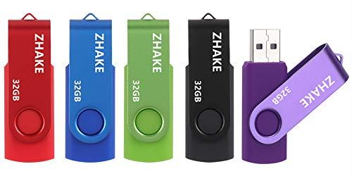 USB-Sticks 32 GB USB-Memory Stick USB 2.0 Speichersticks 5 Stück Flash-Laufwerke mit Deckel, Thumb-Laufwerke Pen Drives(5 Bunt: Schwarz Blau Grün Rot Silber)