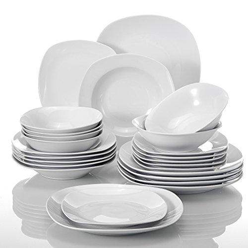 Malacasa, Série Elisa, 24pcs Services de Table Complets Porcelaine, 6 Assiettes Plates, 6 Assiettes à Dessert, 6 Assiettes Creuses, 6 Bol pour 6 Personnes