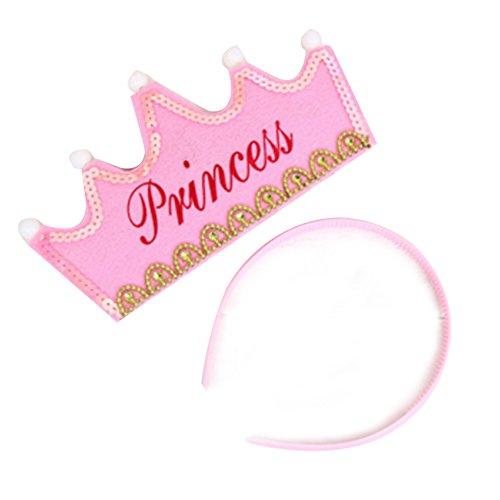 Ndier Rosa Happy Birthday Party Kinder Kostüm Zubehör Leuchten Blinkende LED Prinzessin Crown Hairband Haarband Stirnband
