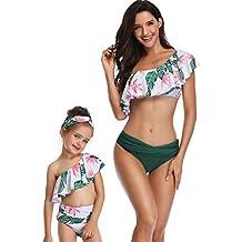 Mitlfuny Madre Hija Bikini Verano Traje de Baño para Mujer Floral Estampado Volantes Bañador de Natación