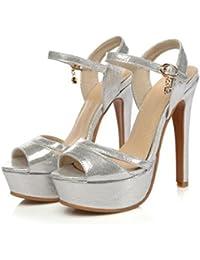 mogeek Zapatos con Tacon Alto para Mujer Plataforma Tacones con Correa de Tobillo
