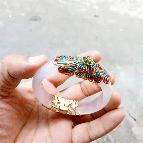 DENGDAI Bracelet Blue bracelet 925 silver hidden silver inlaid white agate pulp bracelet Bracelets