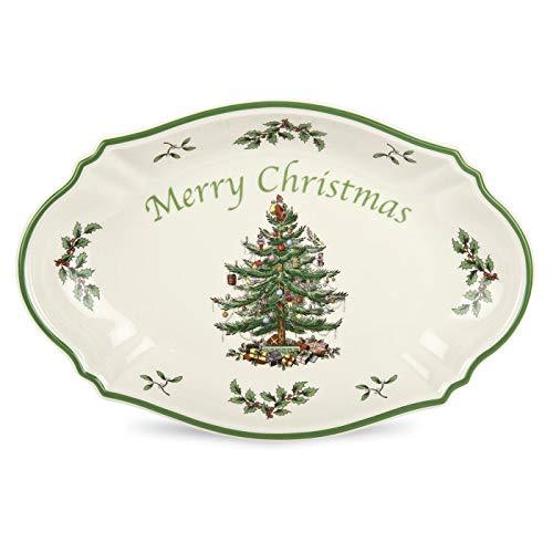 Spode Weihnachtsbaum Weihnachtsbaum, frohe Weihnachten, Baum, Schale grün Spode China Christmas Tree