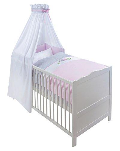 Julius Zöllner 5790014262 Bettset kleine Eulen rosa mit Applikation 3 teilig - Komplettes Bett Set