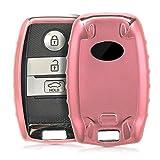 kwmobile Autoschlüssel Hülle für Kia - TPU Schutzhülle Schlüsselhülle Cover für Kia 3-Tasten Smartkey Autoschlüssel Hochglanz Rosegold