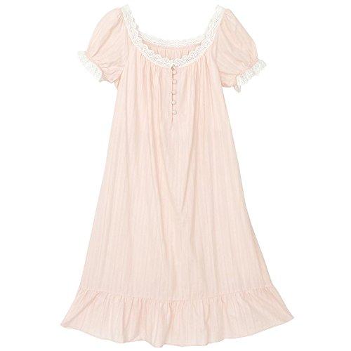 JINSHENG Schlafanzüge Weiblich Sommer Baumwolle Kurze ärmel Rock Dünne Haushalt Kleider Lange Liebe Prinzessin Wind Rosa Schlafanzug,160 (m),Rosa