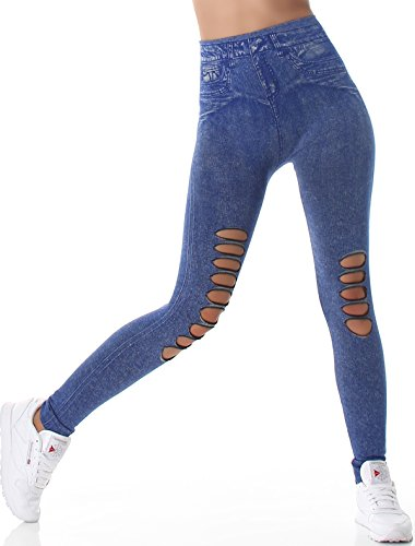 SL1 Damen High-Waist Jeans-Leggings Jeggings Risse Löcher Destroyed-Style Stretch (34/36/38) (5) Blau