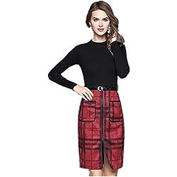 Lana del otoño de las nuevas mujeres tejida de la tela escocesa de la falda vestido de una sola etapa , red , s