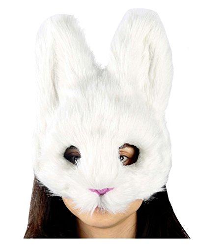 Flauschige weiße Bunny-Maske für tierische Karneval (Weiße Maske Kaninchen)