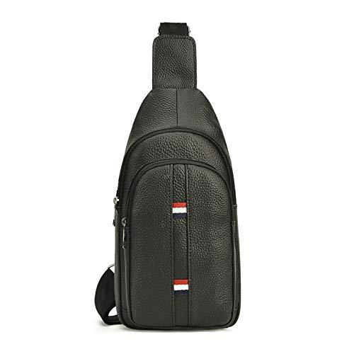 Koreanische Version der Leder Herrentasche Casual Lychee Brust Brust Top Layer Leder Outdoor Messenger Bag schwarz - Tasche Ogio Messenger