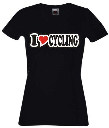 T-Shirt Damen - I Love Heart - V-Ausschnitt I LOVE CYCLING Schwarz