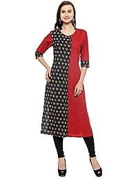 Azira Black And Red Cotton Straight Kurta