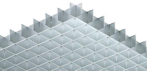 Gedotec Lichtgitter eckig Gitterrost Alu Gitter-Profil gemäß DIN 5035 | 1248 x 624 mm | Aluminium silberfarben eloxiert | MADE IN GERMANY | 1 Stück - Alu Licht-Vorhang für die Decken-Montage -
