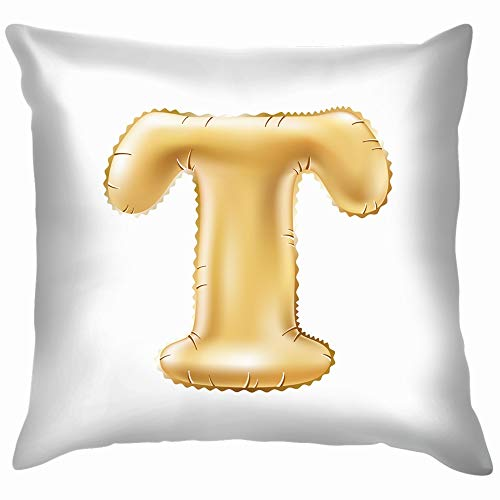 beautiful& Metallic Gold T Balloon Golden Education 3D Throw Pillow Case Cushion Cover Pillowcase Watercolor for Couch 18X18 Inch