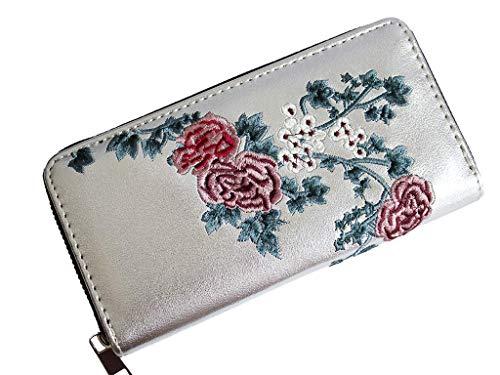 Geldbörse Damen Silber, Blumen Design, Portemonnaie Lang mit Reißverschluss, Handyfach, Elegant