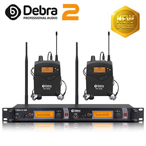 Beste Klangqualität! Professionelles UHF-In-Ear-Monitor-System Dual Channel Monitoring ER-2040 Typ für Bühnenaufzeichnung Studioüberwachung (SR2050 Update-Typ) (mit 2 Empfänger)