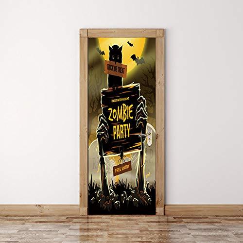 Wohnzimmer Halloween Zombie Horror Poster Tür Aufkleber Malerei Tapete Wandaufkleber Party Schlafzimmer Wohnkultur ()