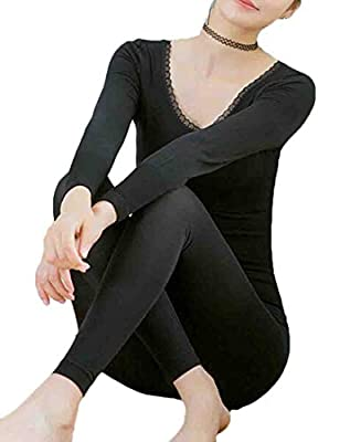 VaeJY Womens Thin Thermal Crew Neck Underwear Set Top with Pants