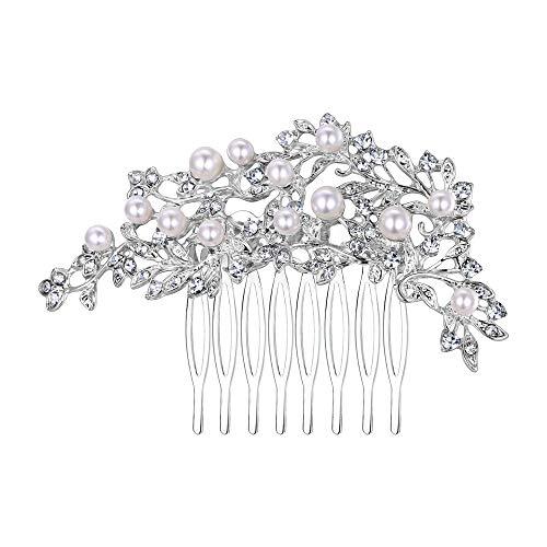 amm Hochzeit Braut Party Haarschmuck mit Elfenbein Farbe Simulierte Perle Kristall Perle Klar ()
