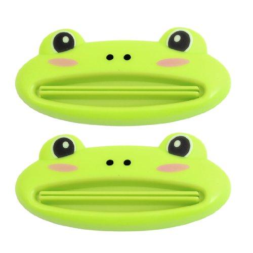 2 x Appareil a presser le dentifrice de forme de grenouille verte en plastique