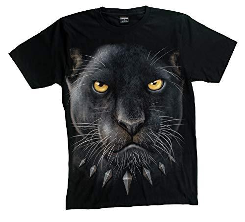 T-Shirt 3D Glow IN Dark Tier Mann Unisex (Small, Panther Black)