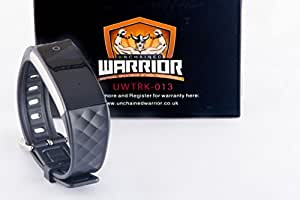 Fitness Tracker HR, Unchained Warrior® D-Charge Smart Heart Rate Monitor Watch | Best Touch Screen Wearable Smart Band for Activity Tracking | Works with Apple iOS and Android Only - BLACK STRAP