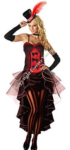Forever Young - Damen Burlesquetänzerin-Kostüm - Mit Hut & Handschuhen - Rot - Größe 40