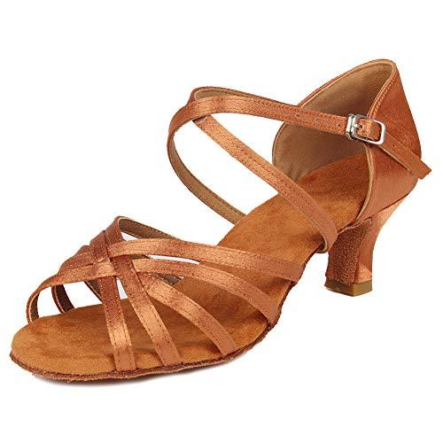 Hipposeus donna scarpe da ballo latino scarpe da ballo da ballo per allenamento performance satin,modello wzj-cl-dj-5,marrone,eu 37