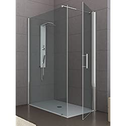 Cabine de douche cristal 6mm 2faces porte heurtoir sur côté court porte fixe 70x 100cm, h 200cm