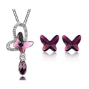 NINABOX® - Parure Papillon Collier & B.O. - Bijoux fantaisie femmes filles - Cristal Swarovski Eléments (pourpre) - Réf. T000042