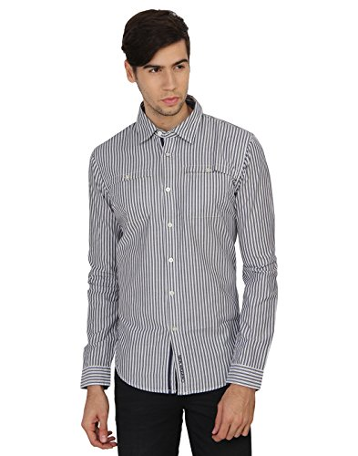Calvin Klein Men's Striped Casual Shirt  available at amazon for Rs.2599
