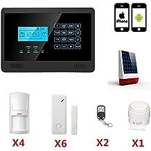 ABTO Touch Screen 433MHZ Sistema di allarme senza fili di GSM della casa con Android / iOS telecomando e la sirena solare Powered - Nero