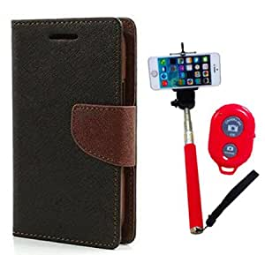 Aart Fancy Diary Card Wallet Flip Case Back Cover For Motorola Moto G3 - (Blackbrown) + Remote Aux Wired Fashionable Selfie Stick Compatible for all Mobiles Phones By Aart Store