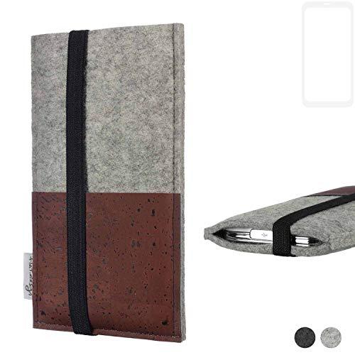 flat.design Handy Hülle Sintra für Xiaomi Blackshark Helo Handytasche Filz Tasche Schutz Kartenfach Case braun Kork