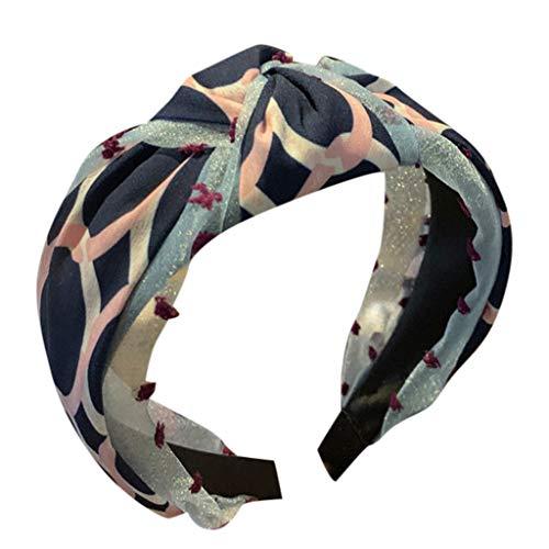 kolila Billig Stirnband Clearance !!! Damen Boho Mehrfarbig Stretchy breitkrempigen Cross Twisted Haarband Zubehör Haarspangen Stirnbänder(Marine)