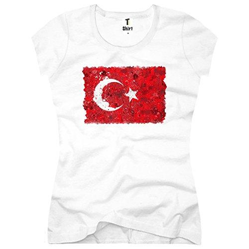 TEE-Shirt, Damen T-Shirt mit Aufdruck. Coole Motive. T-Shirt mitTürkei Flagge Druck. Weiß