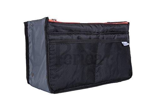 Periea Handtasche Organizer - Chelsy - Schwarz mit Neon-Reißverschluss - 3 Farben & Größen erhältlich - Limitierte Auflage (Schwarz mit Neoncoral-Reißverschluss, Mittel)